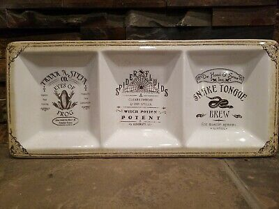 222 Fifth Hallow Apothecary 3 Section Condiment Tray Halloween Snake Spider Frog