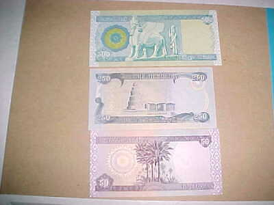 Iraqi Dinar 500, 250, and 50 One of Each Note Uncirculated  with free shipping