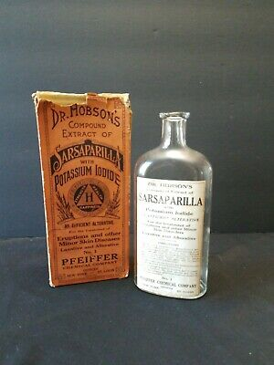 Antique Dr. Hobson's Compund Extract of Sarsaparilla Medicine Bottle with Box