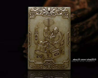 8.2cm collect China natural HeTian Jade Hand carved character Pendant AWSB