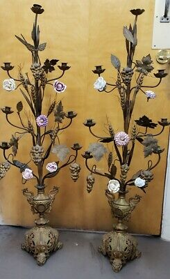 Antique  French  Bronze and  Porcelain Altar Candelabra with Flowers