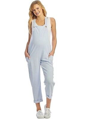 Everly Grey - Nani Seersucker Maternity Pregnancy Jumpsuit Overalls