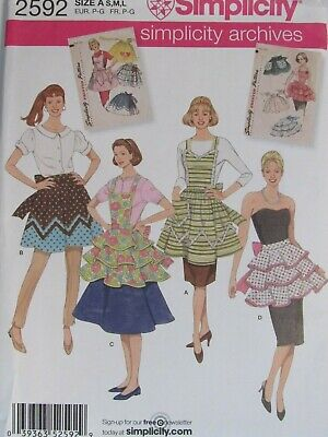 OOP SIMPLICITY 2595 Misses Retro 60s Aprons in 4 Versions PATTERN S-M-L/10-20 UC