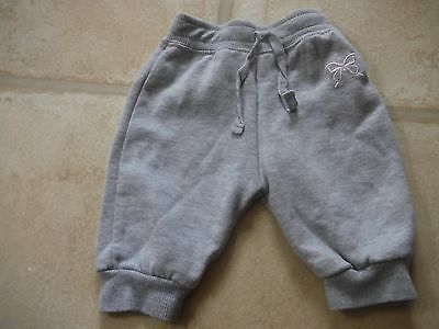 Baby girls jogging bottoms grey with pink butterfly age 0-3 months