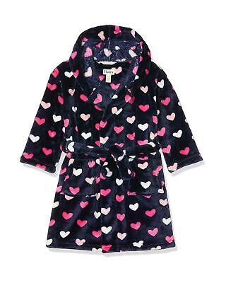Hatley Girl's Fleece Robes Dressing Gown L Blue (Lovey Hearts 400)