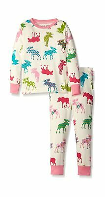 Hatley Girl's Pj Set-Patterned Moose Pyjama 10 Years White