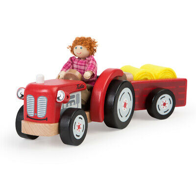 Tidlo Wooden Farm Tractor and Trailer with Hay, Figure Not Included
