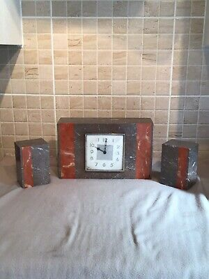 Art Deco French Marble Mantle Clock And Candlestands