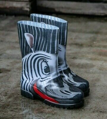 Zebra Animal Kids, Boys, Girls Wellies, Wellington Rainy Boots Snow All Sizes