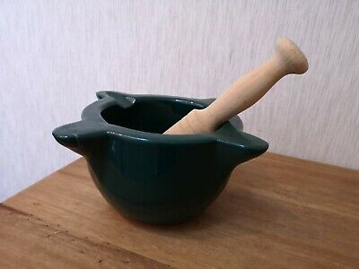 Heavy Stoneware Green Glazed Mortar with Wood pestle VGC