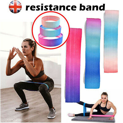 Fabric Resistance Bands Heavy Duty Booty Bands Glute Hip Circle Non Slip Belt UK