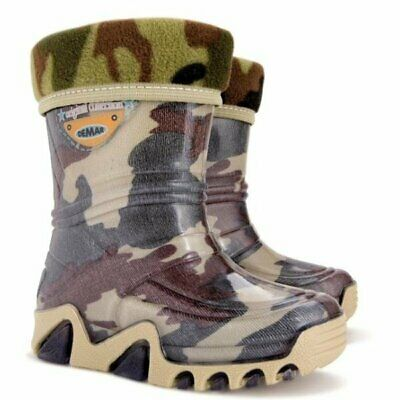 Army Camo Moro Kids Boys Girls Wellies Wellington Rainy SnowBoots +FLEECE-LINED