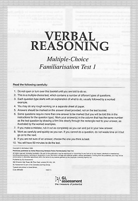 11+ Eleven Plus GL Verbal Reasoning Test Papers (4 Mock Exams) + FREE CONTENT