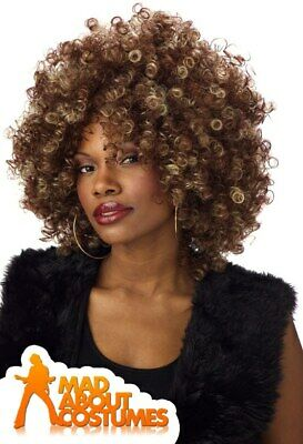 Fine Foxy Afro Brown and Blonde Wig Ladies Two Tone Fancy Dress Tina Turner