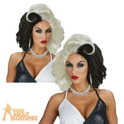 Deluxe Evil Cruella Diva Wig Black and White Halloween Horror Ladies Fancy Dress
