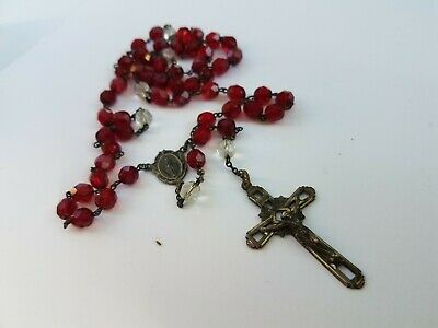 Antique Rosary With STERLING Cross And Red Crystal Glass Gift Box Included