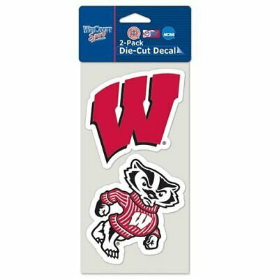 Wisconsin Badgers Decals Pack of 2 Die Cut Car Stickers Truck Decal FAST SHIP
