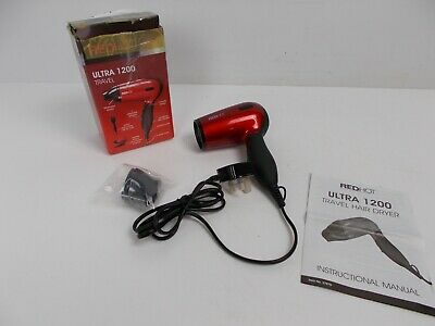 Red Hot 37070 Professional Style Compact 1200W Travel Hair Dryer