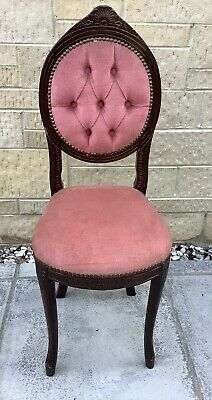 Pink Button Back Parlour Boudoir Bedroom Chair ~ French Style Shabby Chic
