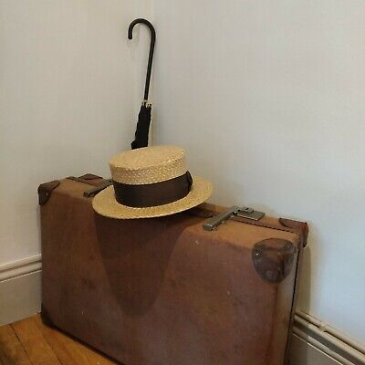 Vintage straw boater Dunn&Co black ribbon Goodwood Theatre
