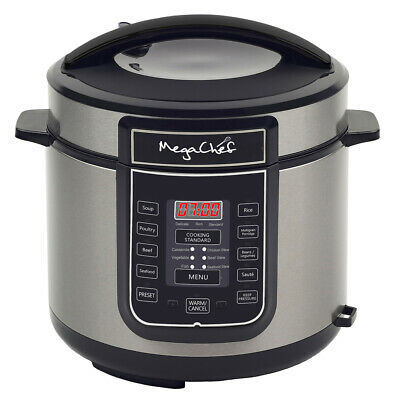 New Megachef 6 Quart Digital Pressure Cooker with 14 Pre-set Multi Function Feat