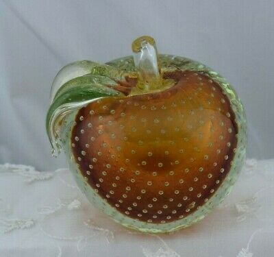 Large Murano Glass Apple Paperweight Controlled Bubbles Amber Gorgeous Heavy