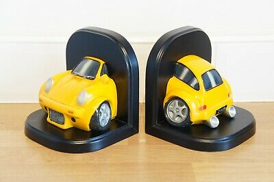 Yellow VW Beetle Bookends, Pair, Wonky Wheels, Novelty, Large, Volkswagen.