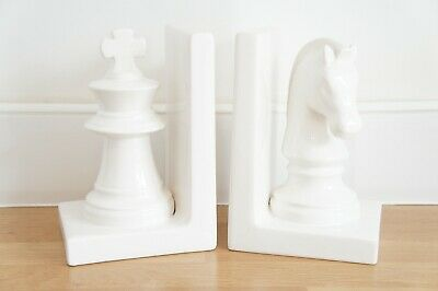 White Ceramic Chess Piece Bookends, King, Knight, Large, Board Game.