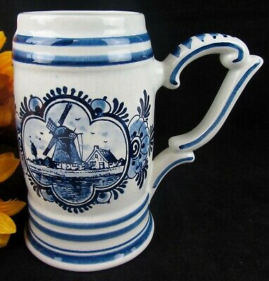 Vintage Delft Blue Hand Painted Dutch Windmill Holland 24oz Coffee Tea Mug Stein