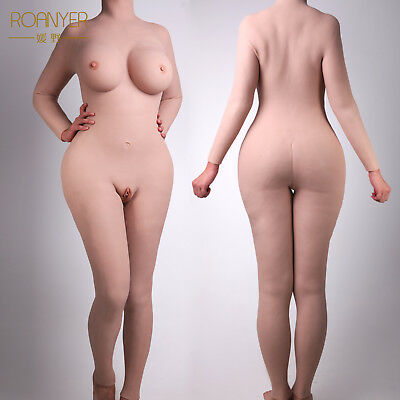 Roanyer crossdresser silicone whole suits with arms breast forms vagina