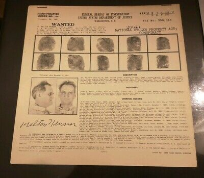 FBI Most Wanted Original Letter 1941 Melton Newman (Stolen Property Act)
