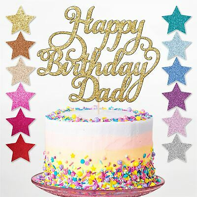 Happy Birthday Glitter Cake Topper Party Decoration Personalised Any Name Dad UK