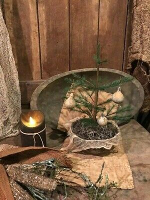 Primitive Christmas Feather Tree Gourd Bowl Spinner Gourd Ornaments Early Look