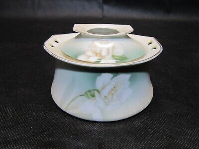 Antique R.S. Germany Porcelain Vanity Hair Receiver Hand Painted Trinket Box