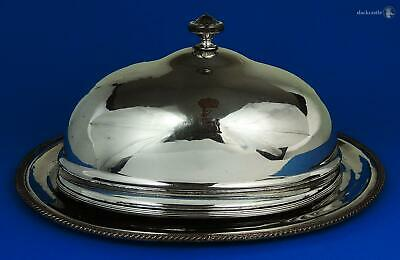 George III CRESTED OLD SHEFFIELD PLATE MEAT DOME COVER & DISH c1790 Deer Crown