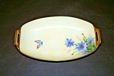 "Antique Thomas 9.5"" Long Fine Bavarian China Hand Painted Signed Butterfly Dish"
