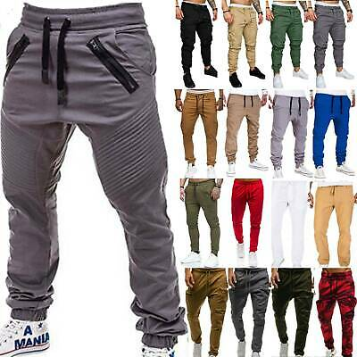 Mens Gym Slim Fit Sweat Pants Tracksuit  Bottoms Joggers Skinny Sports Trousers