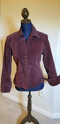 #218, REDUCED! Pre-owned Live a Little burgundy WASHABLE suede JACKET S