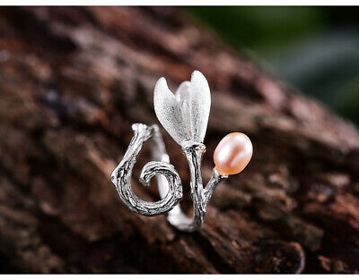Elegant Natural Pearl Magnolia Flower Rings Solid 925 Silver Jewelry for Women