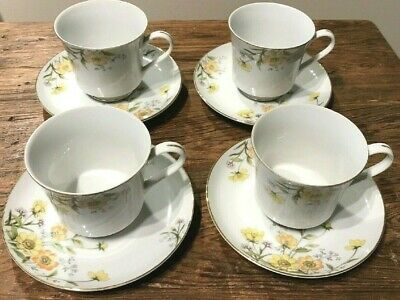 VINT NORLEANS CHINA MADE n JAPAN ALLEGRO SET OF 4 FOOTED CUPS & SAUCERS HTF EUC