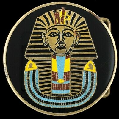 Vtg 70s King Tut Tutankhamen Pharaoh Ancient Egypt Egyptian Giza Belt Buckle