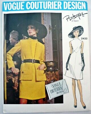 Uncut VTG Vogue Couturier Pattern 2432 Designer Pertegaz Dress Jacket Size 12