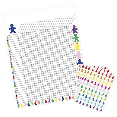 Hygloss Incentive Poster with 9600 People Stickers, 17 x 22 Inches, Assorted
