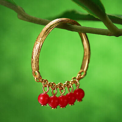 Unique 18K Yellow Gold Holly Fruits Rings Solid 925 Silver Jewelry for Women