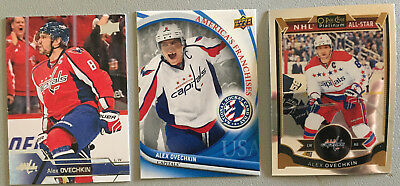 3 Alex Ovechkin Cards 2015-16 OPC Platinum #150, 2016-17 UD #184, 2012 NHCD #2