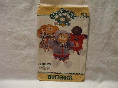 Butterick #6511 Cabbage Patch Kids Clothes Pattern One Size 16""