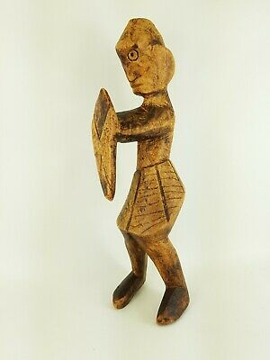 Unusual Antique Oceanic Tribal Carving Of A Warrior With Sheild Dated 1850