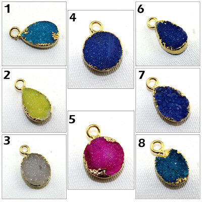 Single Bail Natural Agate Sugar Druzy 24k Gold Pated Make DIY Connector Jewelry