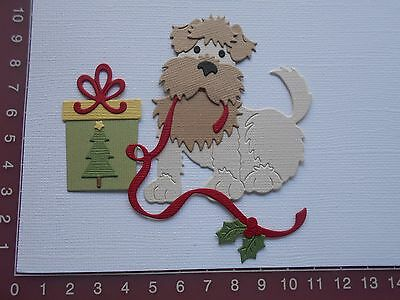 Card Making Die cuts - Christmas Puppy / Dog with Present - Holly, Ribbon