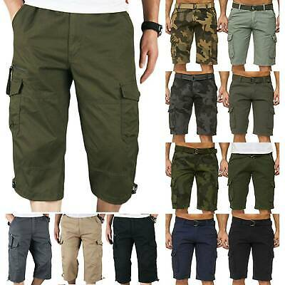 Mens Cargo Combat Shorts Summer Chino Casual Army Work Knee Length Pockets Pants